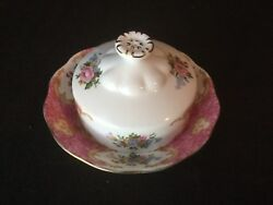 Royal Albert Lady Carlyle Covered Butter Dish Pink Gold Floral Rare W/ Saucer