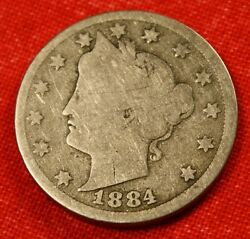 1884 Liberty V Nickel G Scarce Date Beautiful Collector Coin Gift Ln345