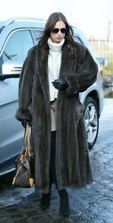 New With Tags Natural Mink Fur Trench Coat Crystal Grey L - Xl