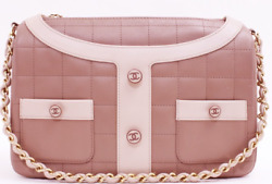 CHANEL Chocorate Bar Camelia Chain Shoulder Bag Jacket Type Pink Rare Design $2,726.50