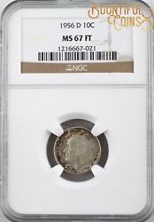 1956 D Ngc Ms 67 Ft Roosevelt Dime 10c Ten Cents Toned Full Torch Bands M168