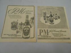 Vintage Pm Deluxe Blended Whiskey - Lot Of 2- 1945- The Oregonian Newspaper