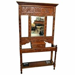 Vintage French Country Carved Hall Tree Glove Box Umbrella Hat Stand Coat Rack