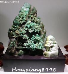 Noblest China Natural Dushan Green Jade Older Person Tree Shanzi Hill Mountain