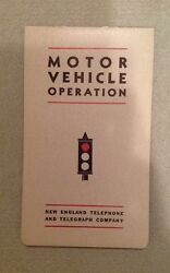 1940 Motor Vehicle Operation New England Telephone And Telegraph Company Booklet
