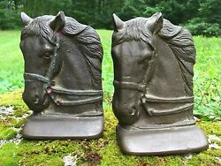 Beautiful Original Early Horse Brass Bookends Wonderful Display Decor Pieces