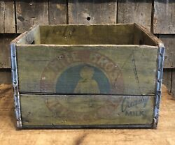 Vintage White Bros Milk And Cream Dairy Wooden Shipping Advertising Crate Baby