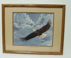 Framed Signed Marguerite Fields 1986 Print Of Wings Of A Prayer 86/200