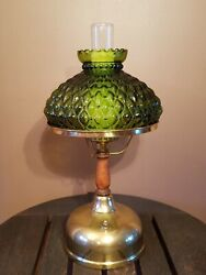 Vtg Hurricane Quilted Shade Gwtw Oil Lamp Style Parlor Table Desk Light Lamp