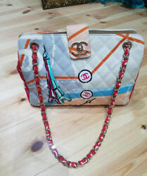 Chanel Patchwork Multi Rare Design Chain Shoulder Bag Blue White Red Used Ex++