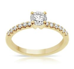 Solitaire Natural Diamond Ring Tcw 0.75 14k Yellow Gold Birthday Valentineand039 Gift