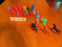 Vintage Tim Mee Cowboys And Indians 5 Horses And Tepee -canoe