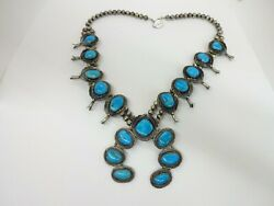 Sterling Silver Navajo Hand Made Bead Turquoise Squash Blossom Necklace 245g
