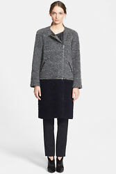 Yigal Azrouel Women's Leather And Wool/alpaca/mohair Assymetrical Coat, Us 6