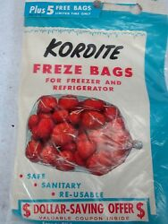 Vintage Kordite Freze Bags 25 1 Pint Bags With Funnel And Rubber Bands