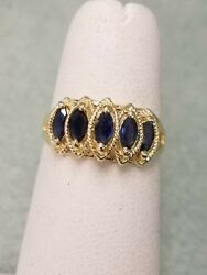 New Lady 14k Yellow Gold With Natural Marquise Sapphire Waterfall Ring Size 7.5