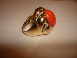 Beautiful Big Heavy Cabochon Natural Red Coral Diamond Ring 18 Kt Gold Size 9.5