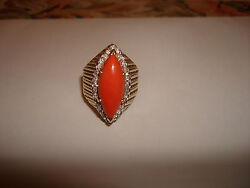 Vintage Beautiful Big Heavy Natural Red Coral Diamond Ring 14 Kt Gold Size 9.75