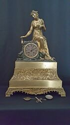 Antique Large 23.5 Gilt And Patinated Bronze Clock With Lady On A Rock. Cc 1840