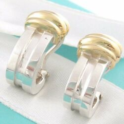And Co Silver 18k Gold Atlas Hoop Clip On Earrings Box Included