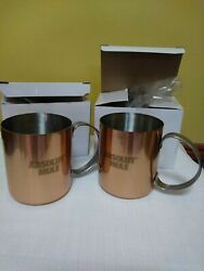 Absolute Vodka Moscow Mule Copper Clad Mug 12 Oz Lot Of 2 New In Box