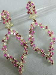 Modern 4.17ctw Diamond Ruby 14k Gold Hanging Cluster Marquise Earrings E51306yp