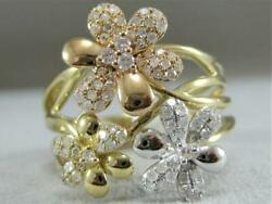 Fancy Modern Pave Diamond 14k Wy Rose Gold Wide Flowers Cocktail Ring R54593tp3
