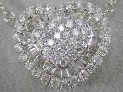 Modern .82ct Pave Diamond 18k White Gold Heart Cluster Halo Necklace 17 N9085wm