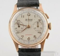 La Phare 18k Rose Gold Menand039s Hand-windng Chronograph 17 Jewel Watch Leather Band
