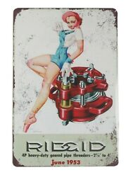 Prints For Sale Online 1953 Rigid Pipe Threaders Pinup Tin Metal Sign