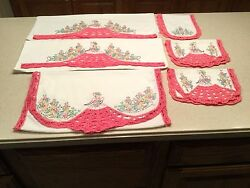 Vintage Crochet Embroidered Pillowcases Pink Bonnet Girls W/ 4 Scarves Doilies