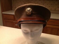 Military Hat Vintage Wwii Era United States Army Hat Green Wool Used