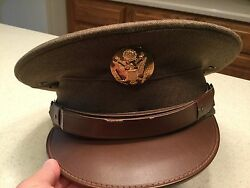 United States Military Hat Cap Green Wool W/ Brown Visor Clean And Nice