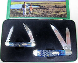 Case Xx 2 Knife Set Blue Mini Copperhead 5 X 5 Dots Father And Son In Box