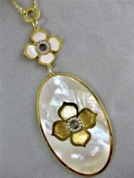 Designer Diamond 14kt Gold White Mother Of Pearl Flower Necklace Italy 16 Scp66