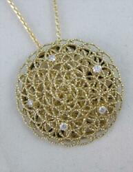 Fancy Designer Diamond Floating Circle 14k Y Gold Round Necklace Italy 17 Bvn30