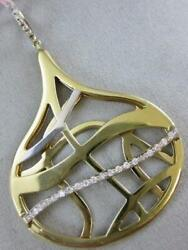 Modern Pave Diamond 14k 2tone Gold Hanging Wide Pear Swirl Pendant Italy Pzp802a