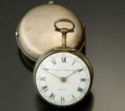 Antique Sterling Silver Pair Case Marwick Markham Pocket Watch Ca1740s