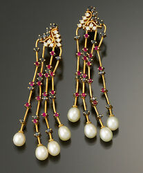 Dazzling Diamond, Ruby, Sapphire And Pearl Rose Gold Chandelier Earrings