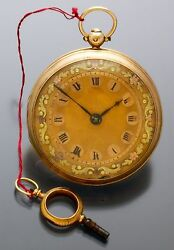 Antique Gold Verge Fusee Pocket Watch Ca1820s  18k Midsize Swing Out Case