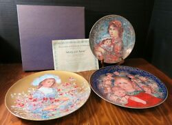 Vintage Lot Of 3 Edna Hibel Collector Plates Molly And Annie, Lily And Angels Mess