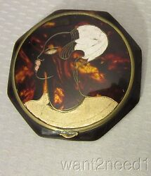 Vtg Antonin French Art Deco Black Afro Lady Compact Torty Celluloid Handpainted