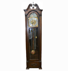 C012 American Antique Moon Dial Tall Case Grandfather Clock- Local Pickup Only