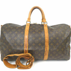 US SELLER Auth Louis Vuitton Keepall Bandouliere Brown Travel Bag 50 312L5199