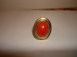 Vintage Collectible Nice Big Heavy Natural Oval Red Coral Ring 14 Kt Gold Size 7