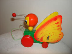 Vintage Collectible Japan Red Robin Sturdy Construction Wooden Pull Toys Box