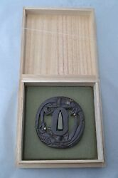 iron Tsuba Japanese Samurai sword Katana Koshirae guard phoenix design Antique