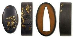 Fuchi kashira Japanese sword katana koshirae accessory Jurojin and cattle design