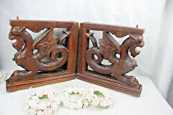 Pair Large Gothic Dragon Griffin Wood Carved Statue Figurines Hunting Cabinet