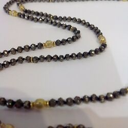 18 K Gold & Faceted Pyrite Nugget Beads Necklace by Designer Barbara Heinrich